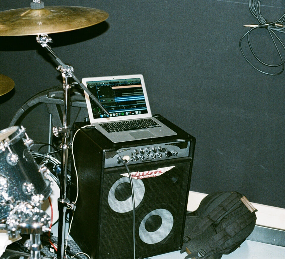 Rehearsal studio - laptop and speaker