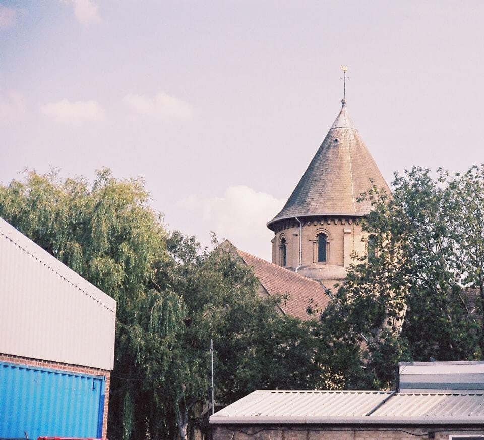 Church spire in Cheltenham close to Pirate Studios Cheltenham location