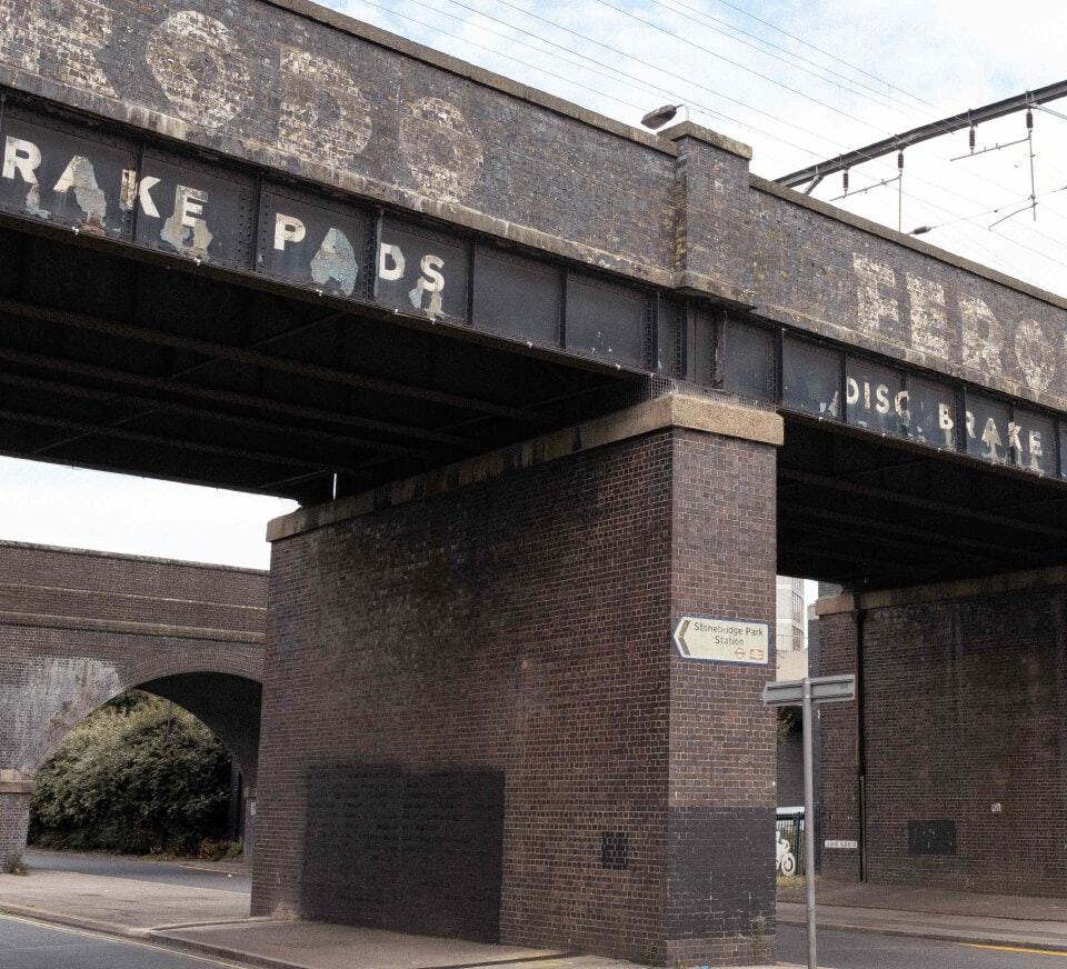 Bridge near Stonebridge Park train station, close to Pirate Studios Wembley