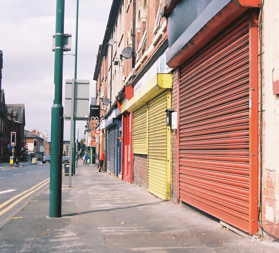 A road-side shot of a high street close to Pirate Studios Nottingham