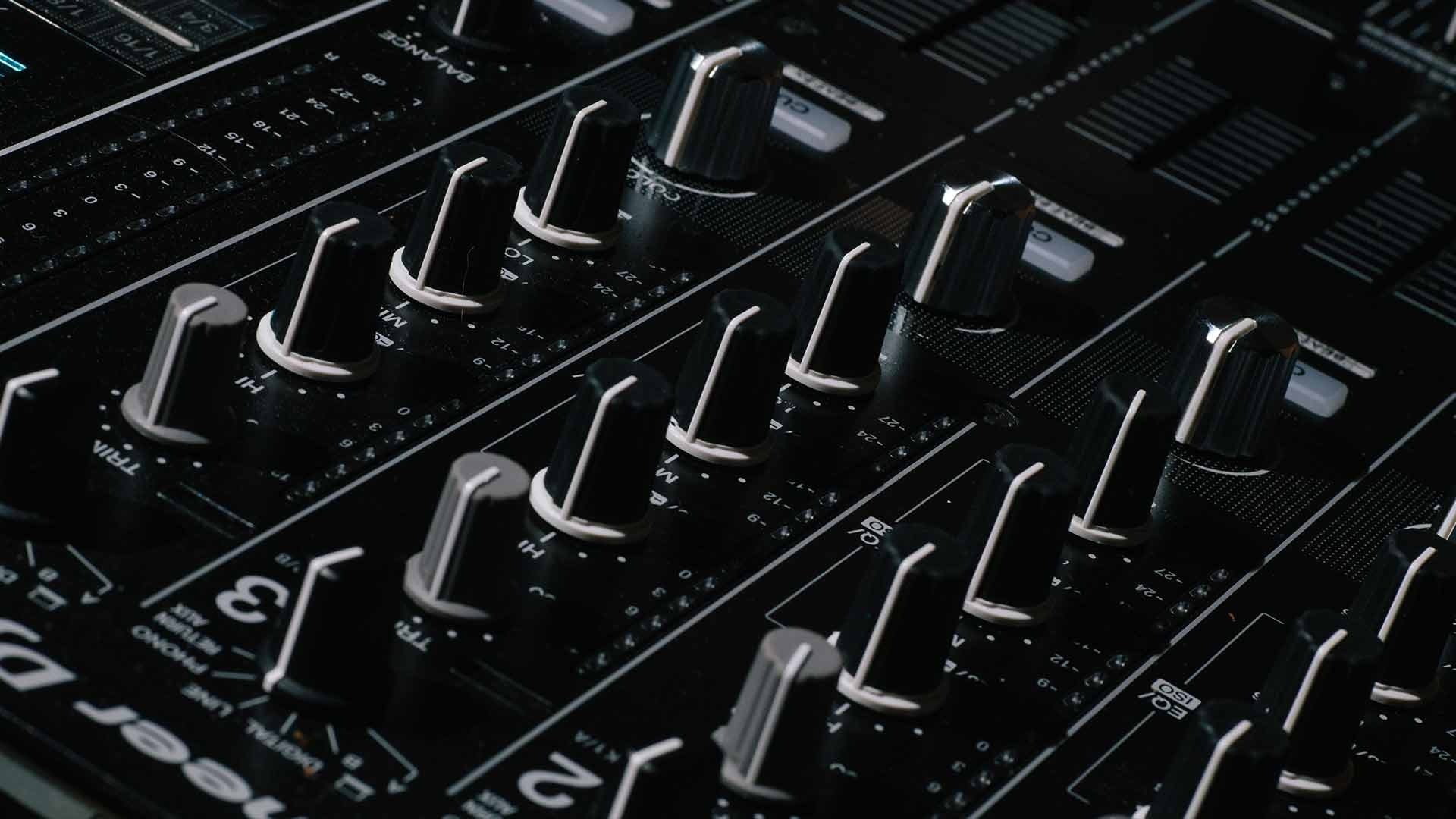 Close up of Pioneer DJ mixer used for free digital DJ academy lessons