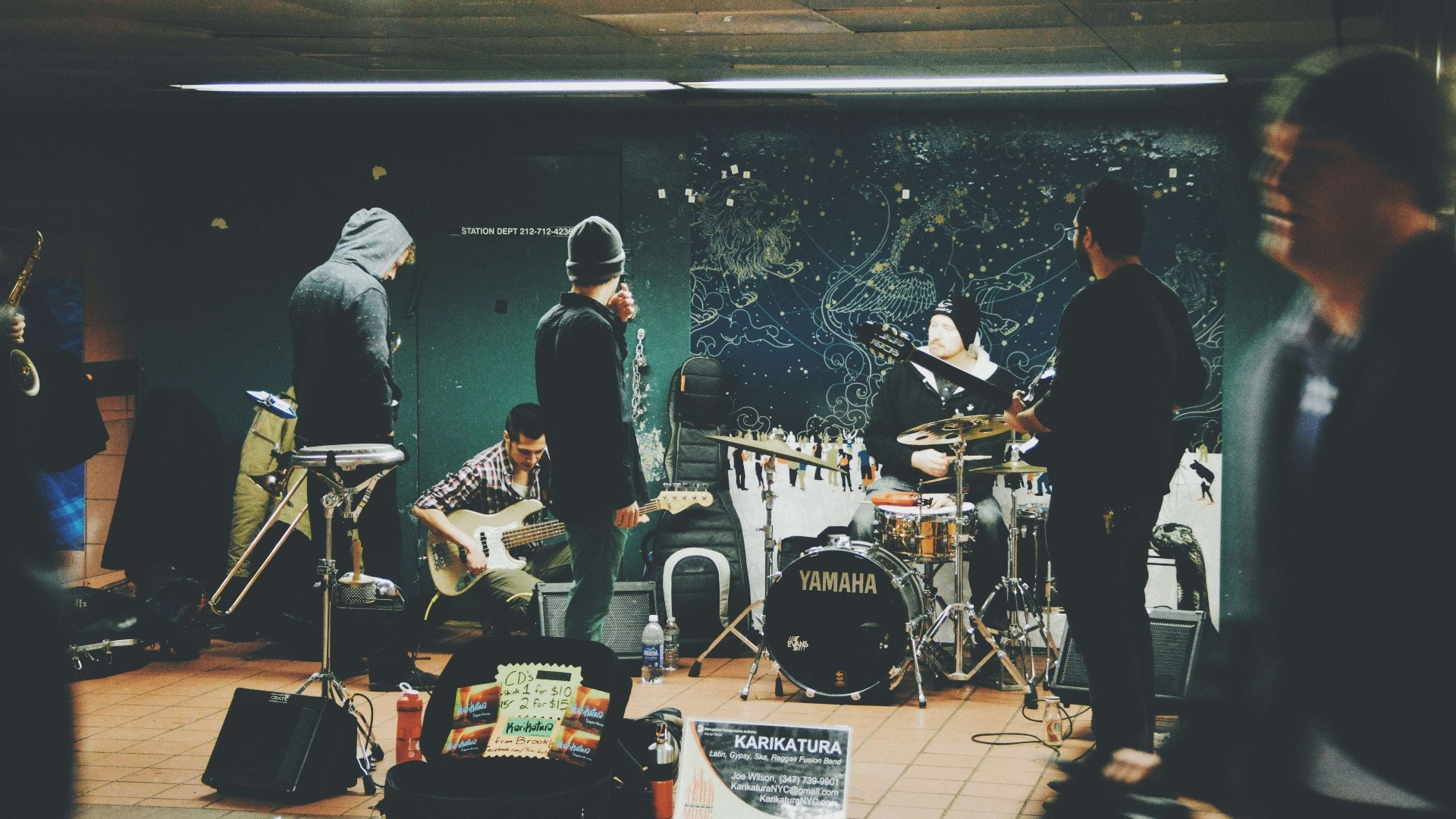A band using an NYC rehearsal space for band practice. Check out Pirate's rehearsal studios for 24/7 self-serve bookings.
