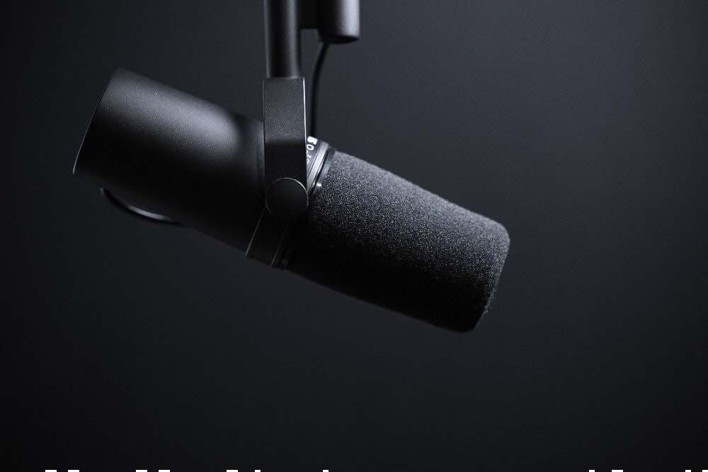 Close up of a podcast microphone. Book your LA podcast space online today.
