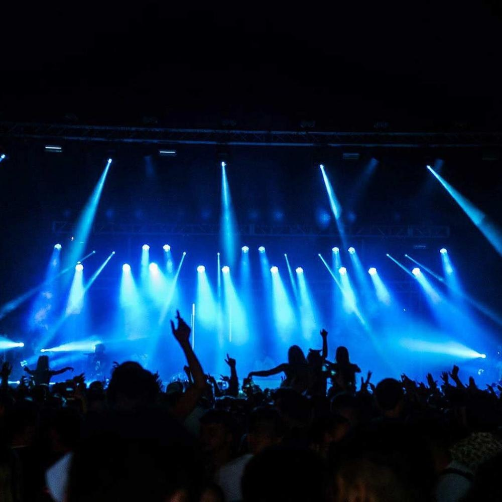 This image may contain: lighting, person, human, crowd, rock concert, concert, stage