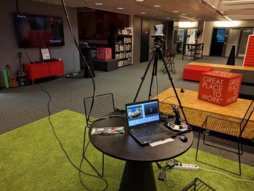 streaming set up at the plaza