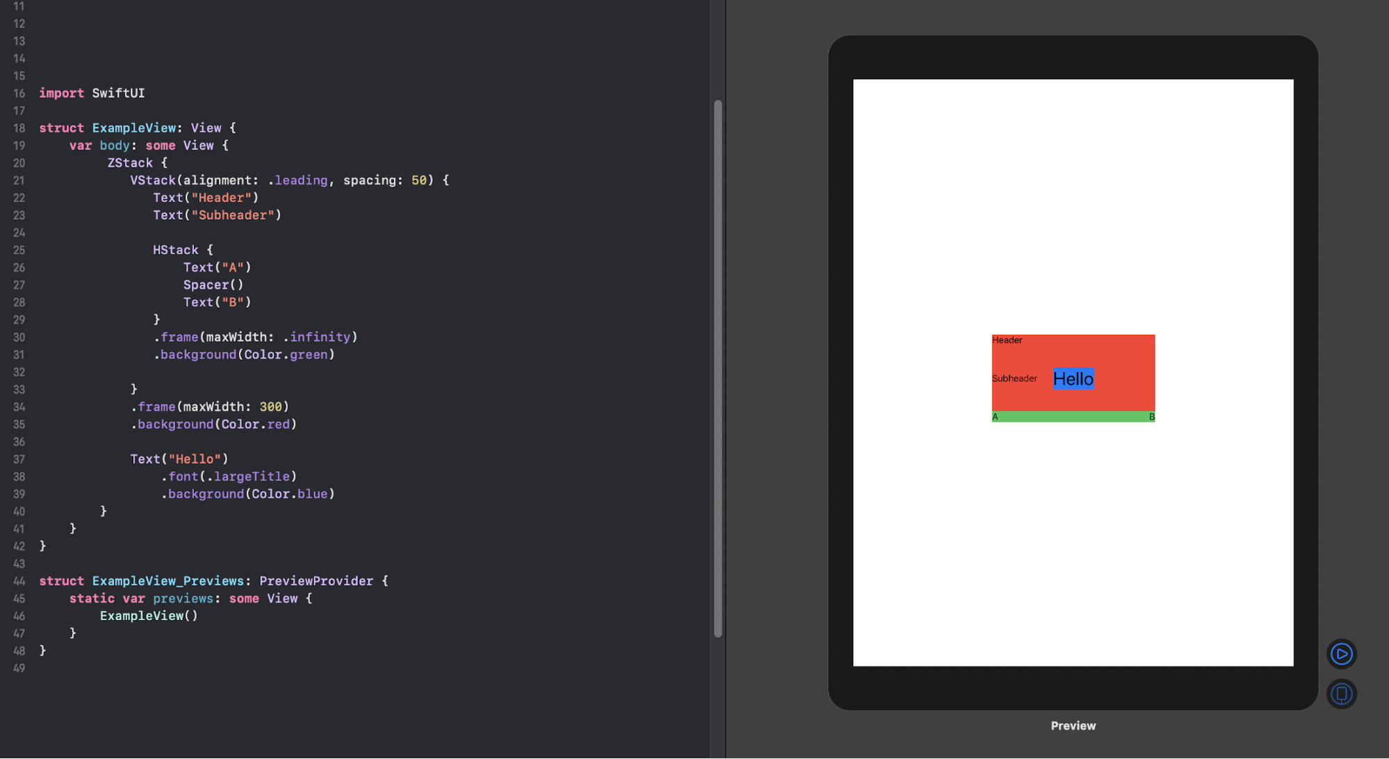 Creating a layout with SwiftUI