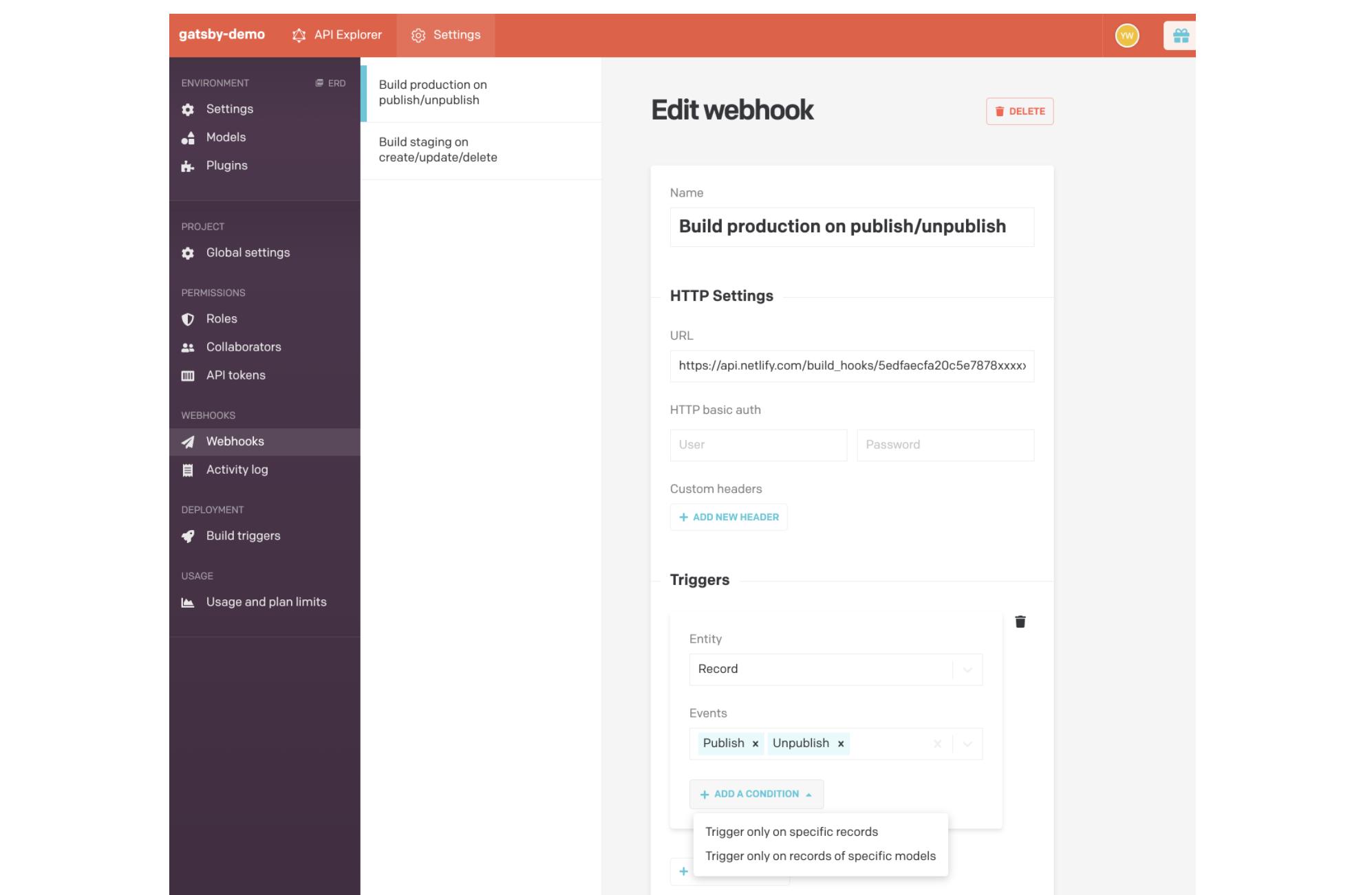Editing DatoCMS Webhook