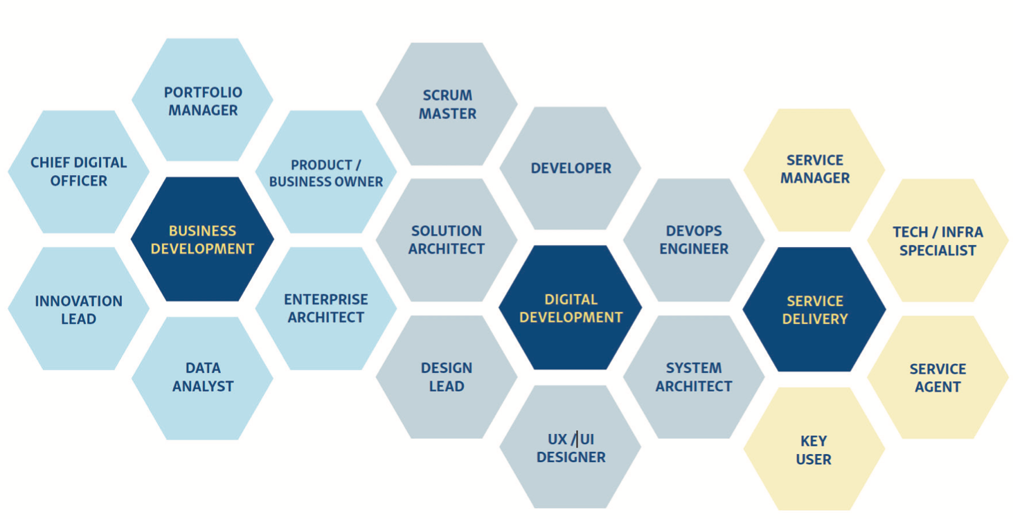 The many skills of a development team are used as needed.