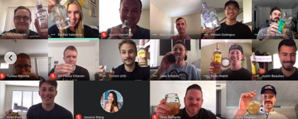 Our Vincitizens enjoying their special care package for National Tequila Day. Bottoms up!