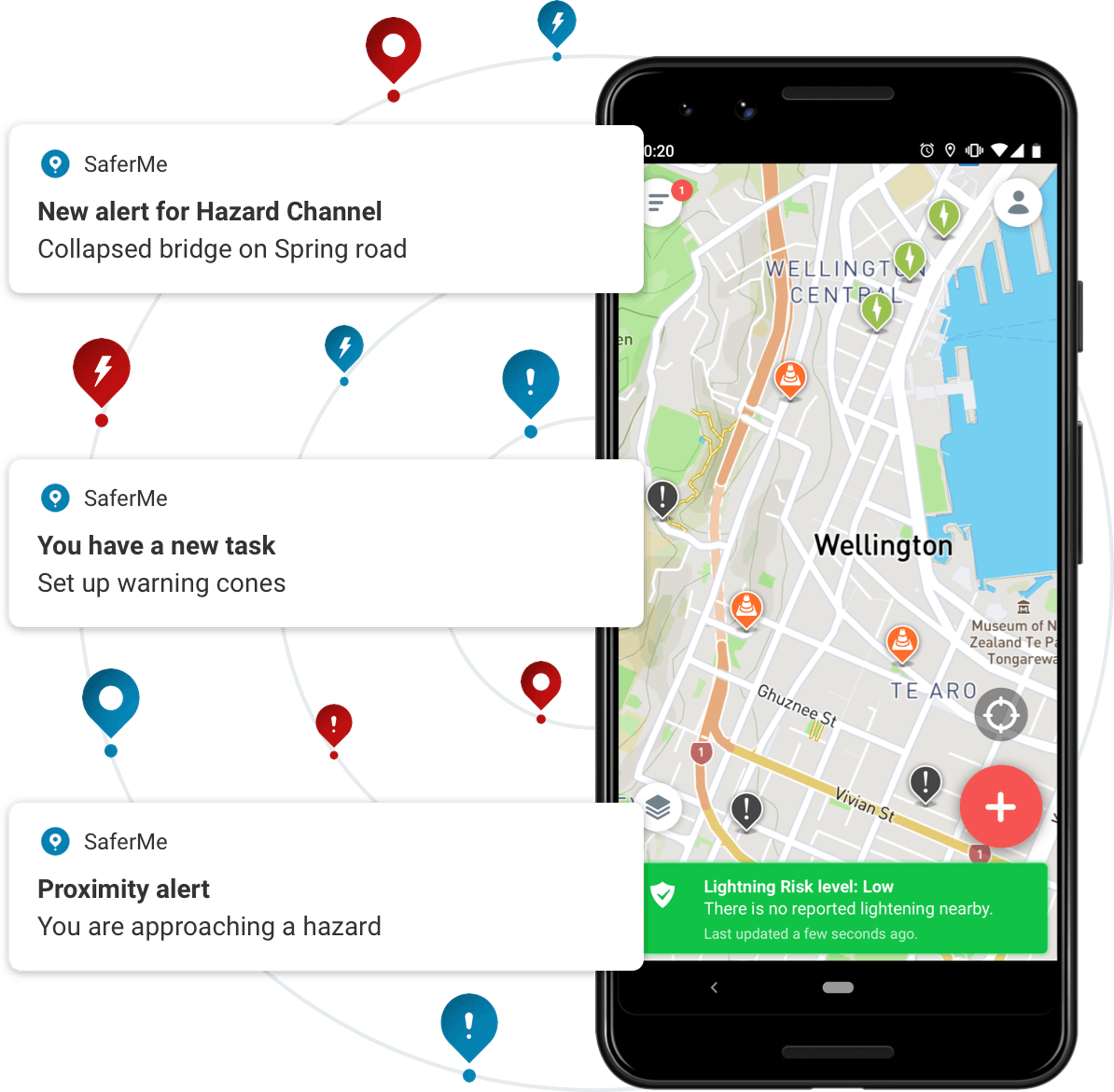 SaferMe app with alerts
