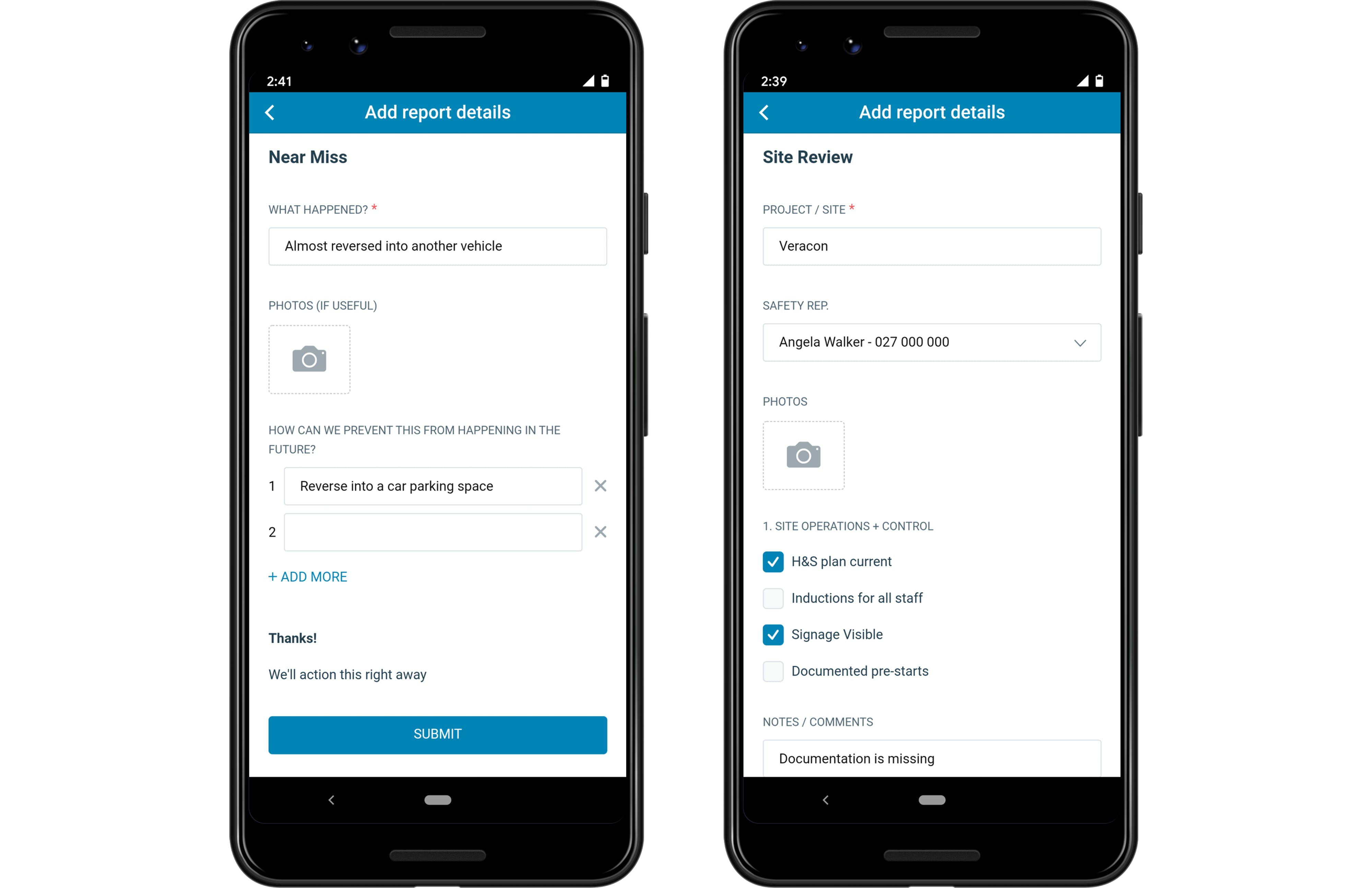 SaferMe app showing simple forms