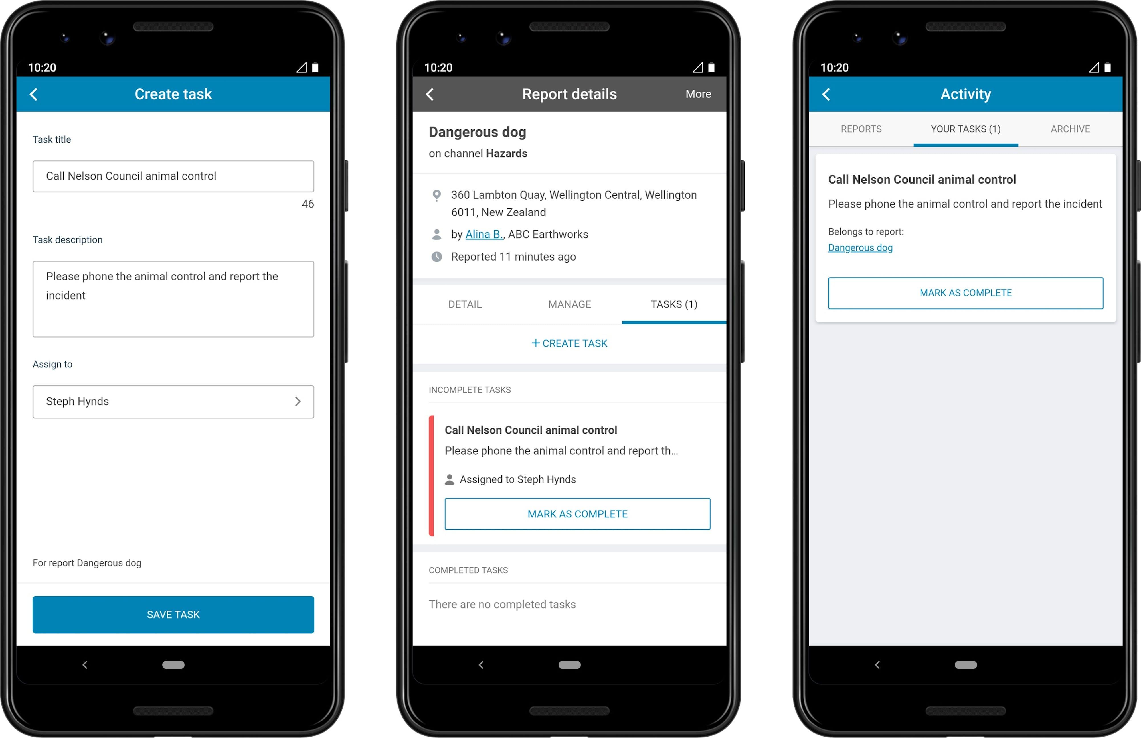 SaferMe app Tasks feature
