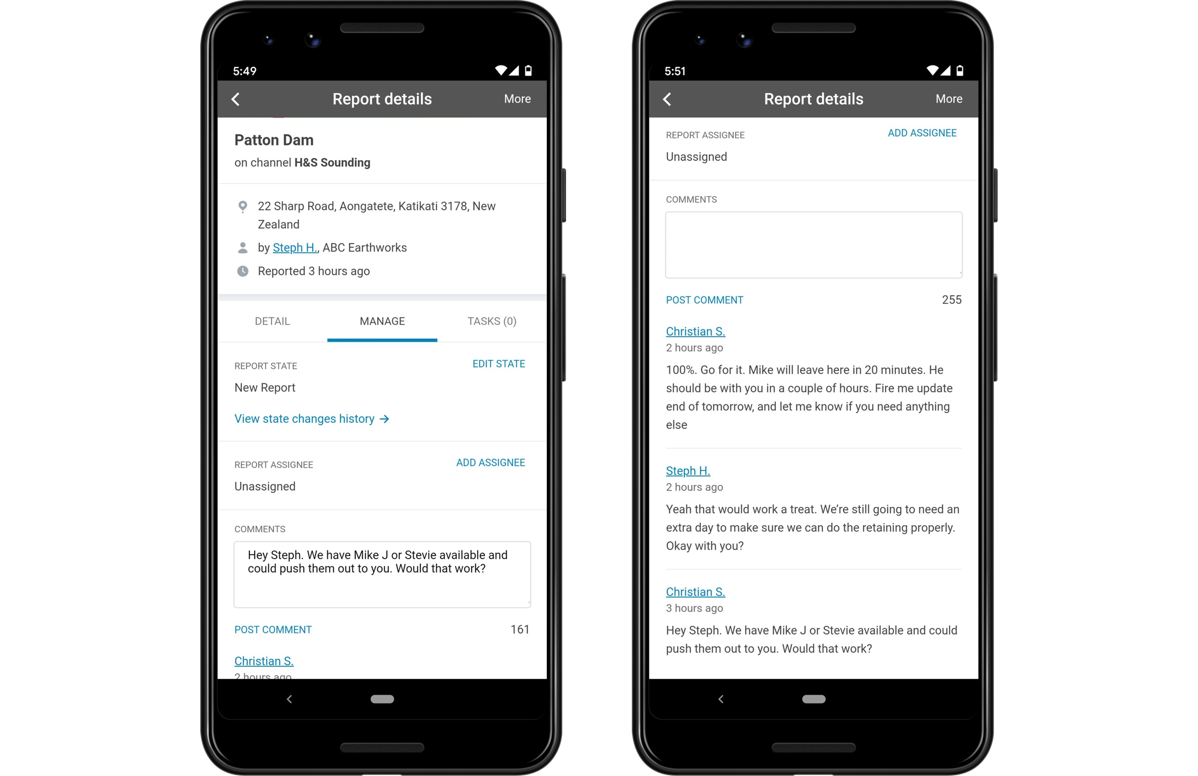 SaferMe engagement features like comments, and tasks help your business get ahead