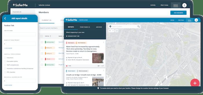 SaferMe feature screenshots