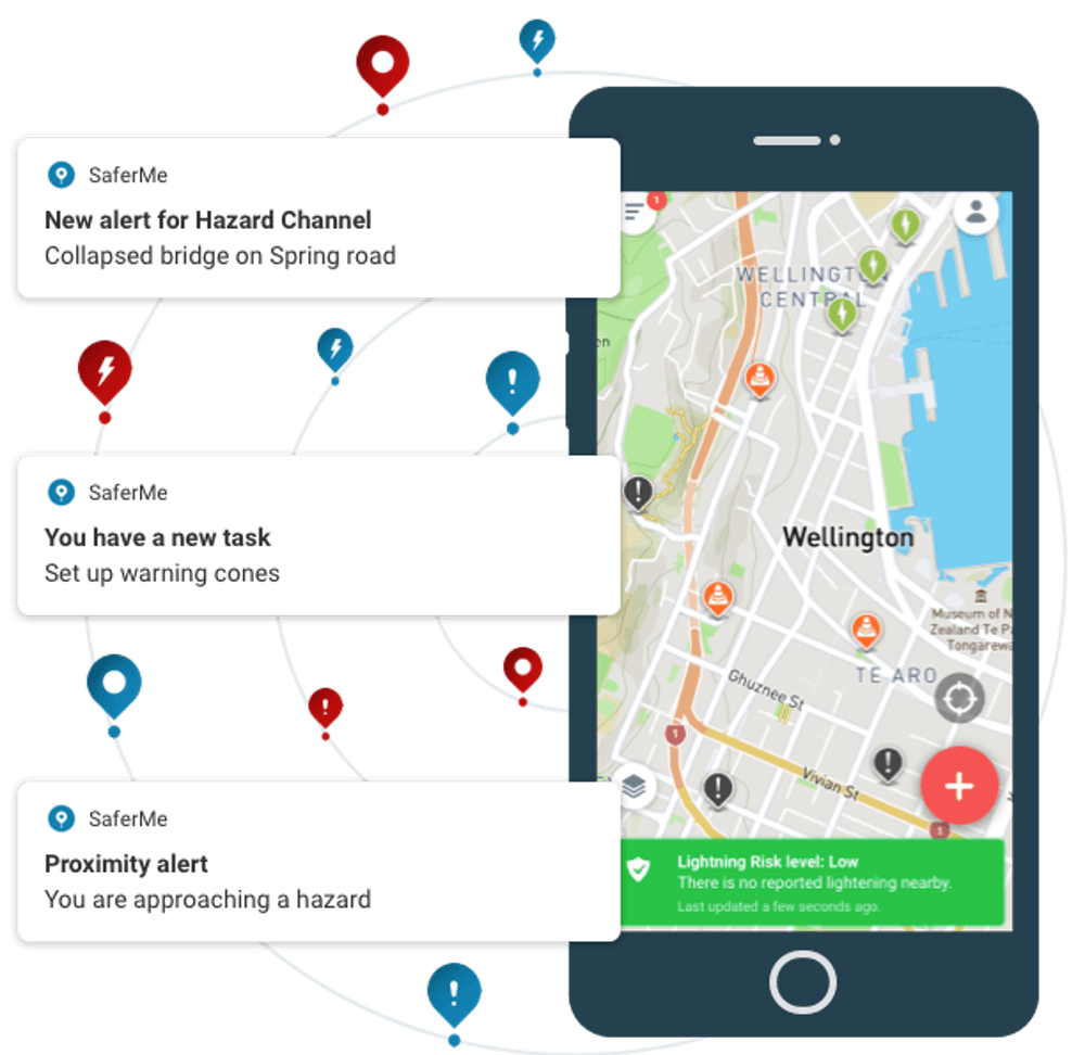 SaferMe alerts people to hazards you share with them