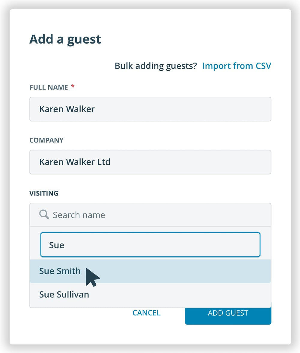 Managin guest in contact tracing