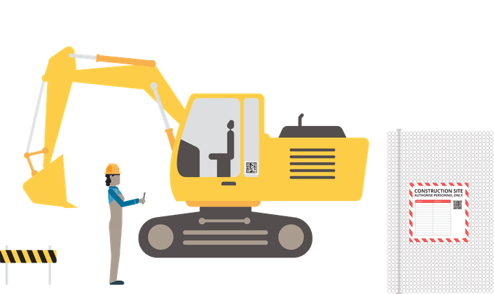 Construction site with digger and QR codes