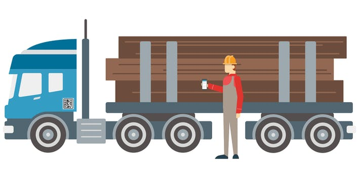 Person next to logging truck