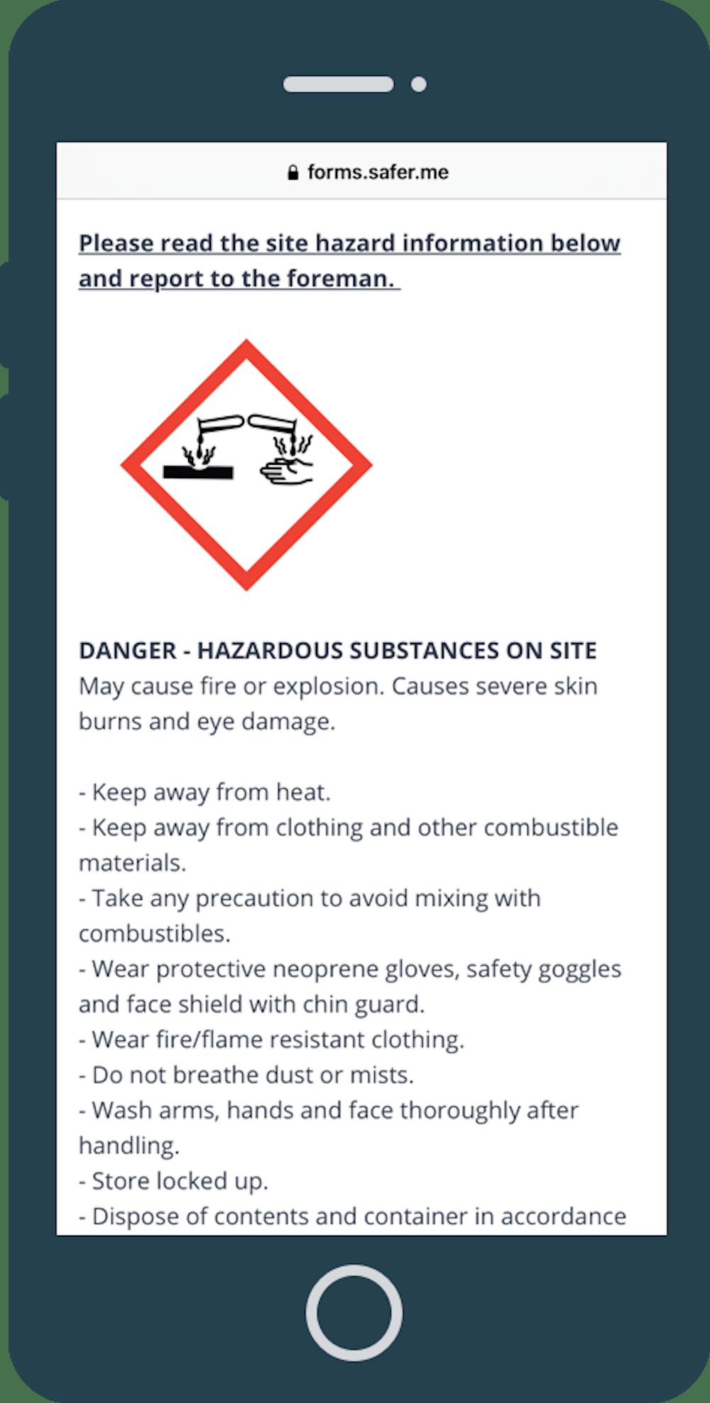 Hazard information through QR code