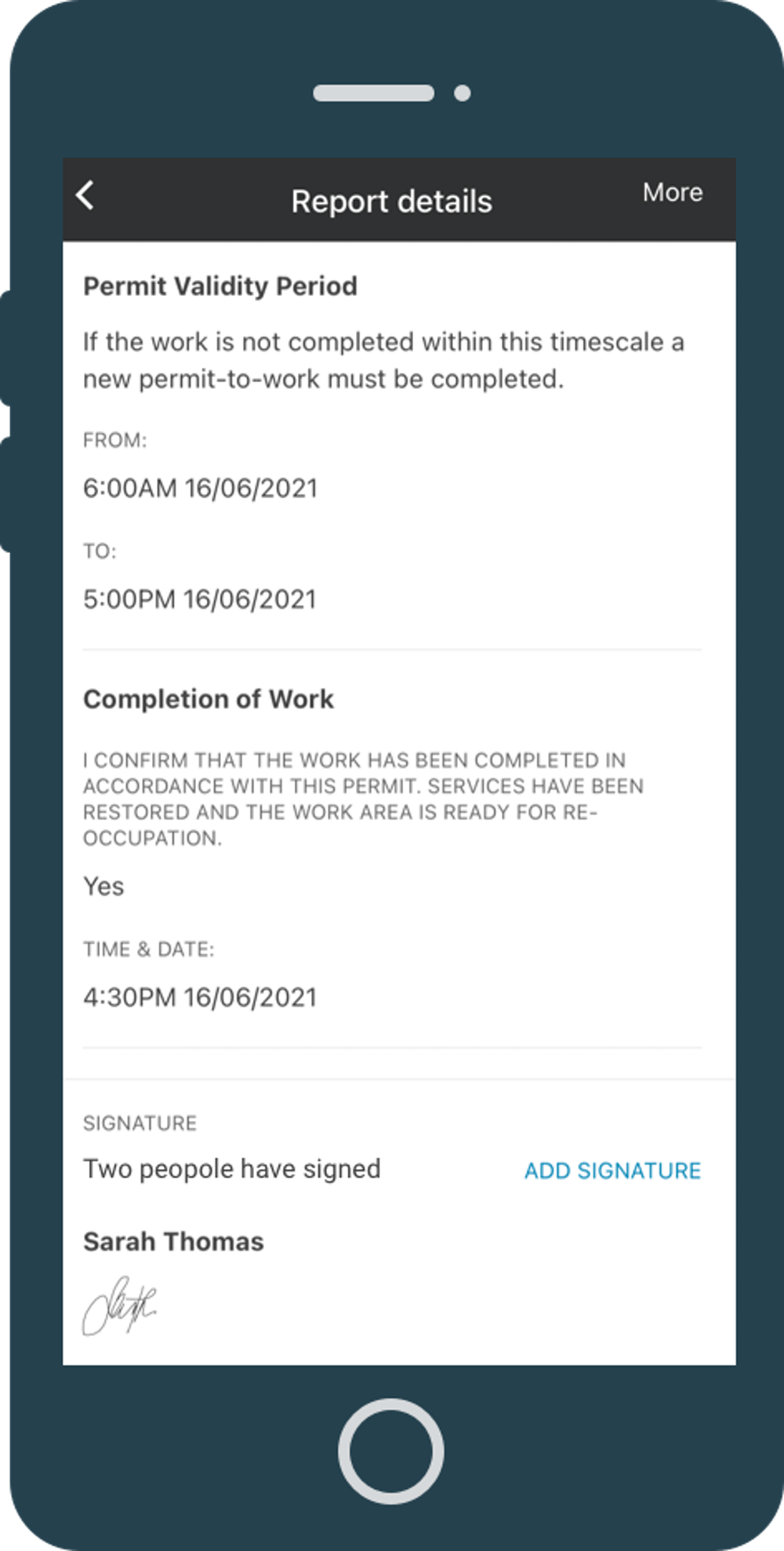 Permit to work form on mobile app