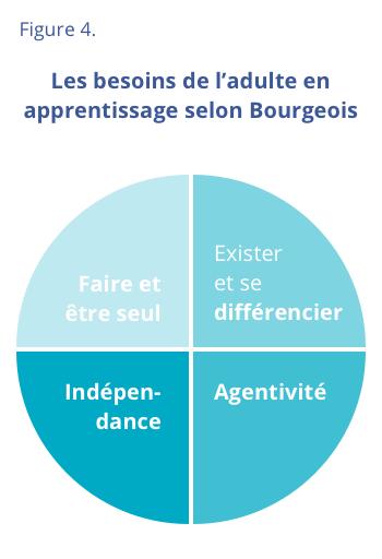Figure 4 - Les besoins de l'adulte en apprentissage selon Bourgeois