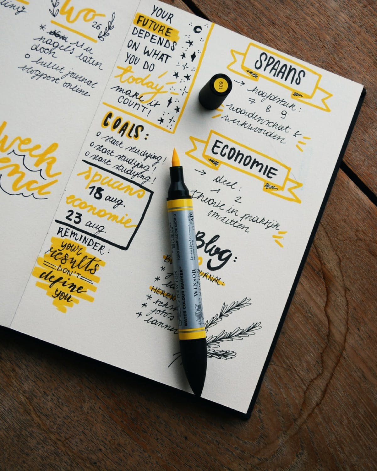 Notes taken in notebook with yellow sharpie