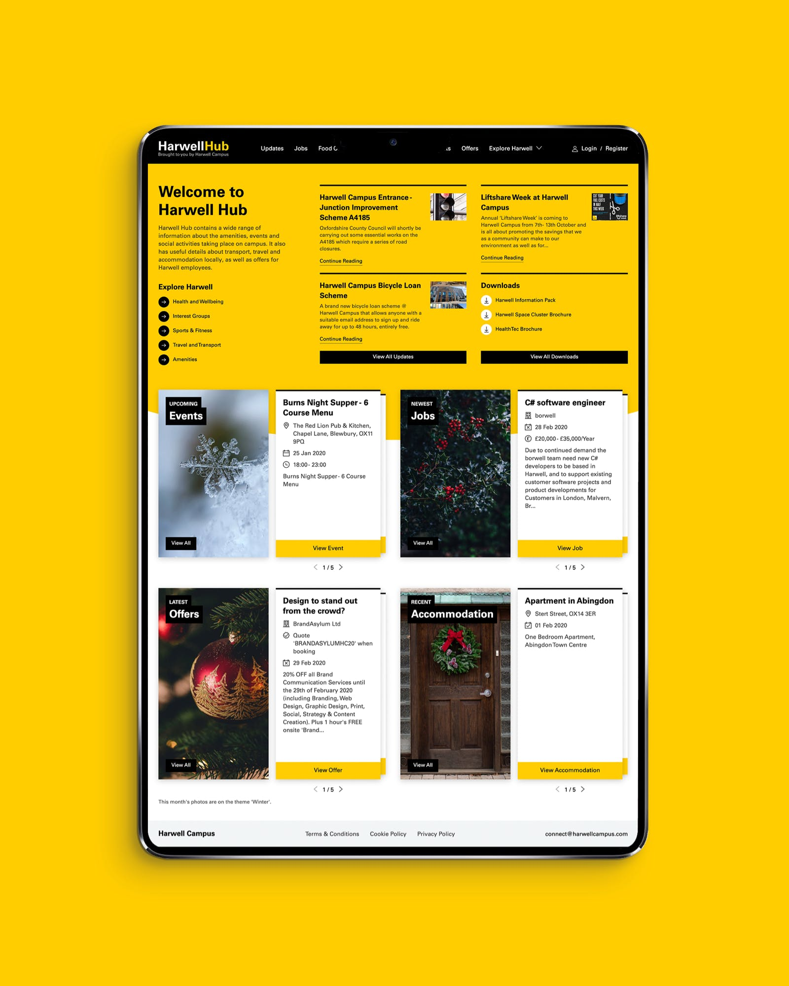 Harwell Hub homepage website design on tablet in portrait view
