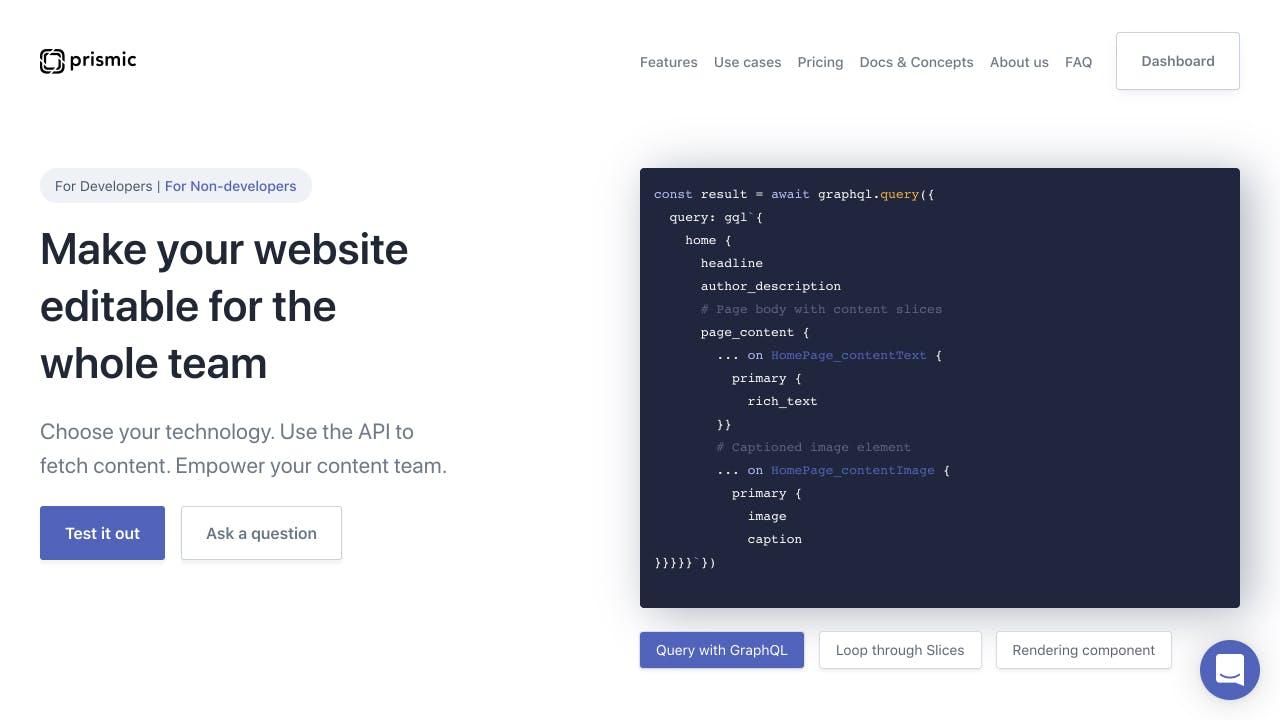 Prismic home page