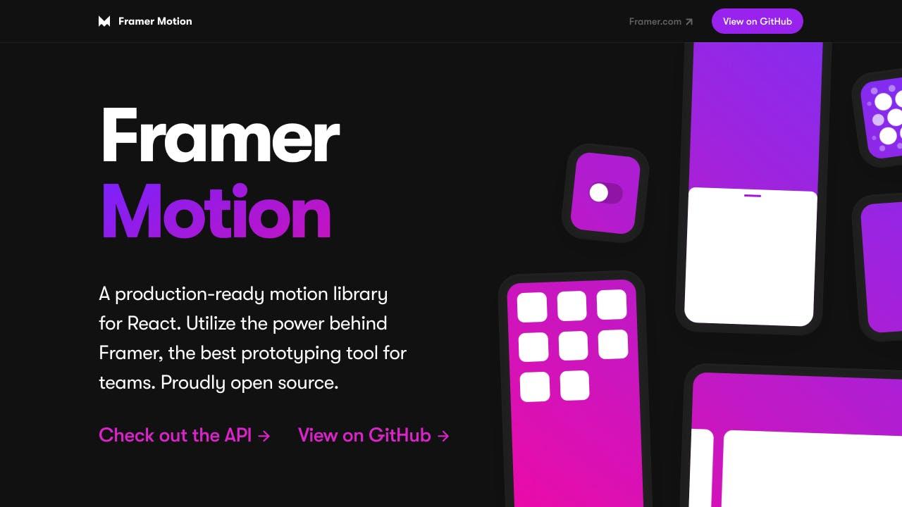 Framer Motion home page