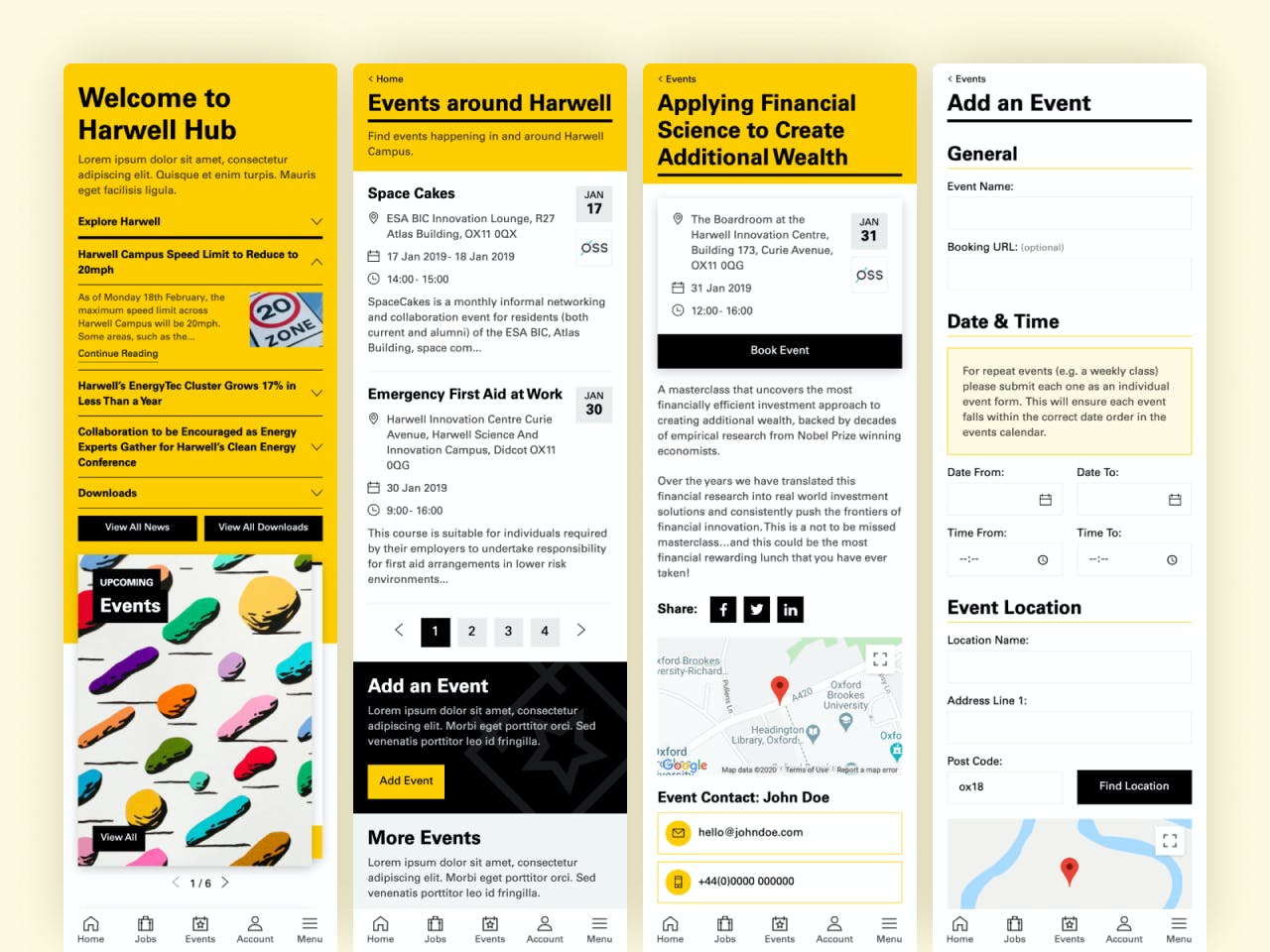 Mobile web app designs for Harwell Hub