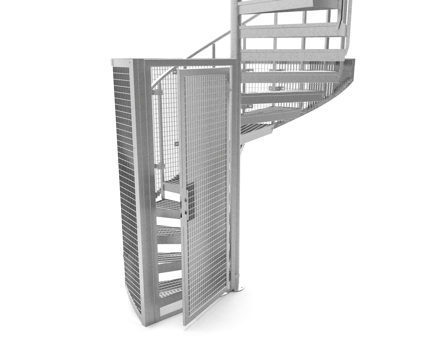 quarter protective cage spiral staircase