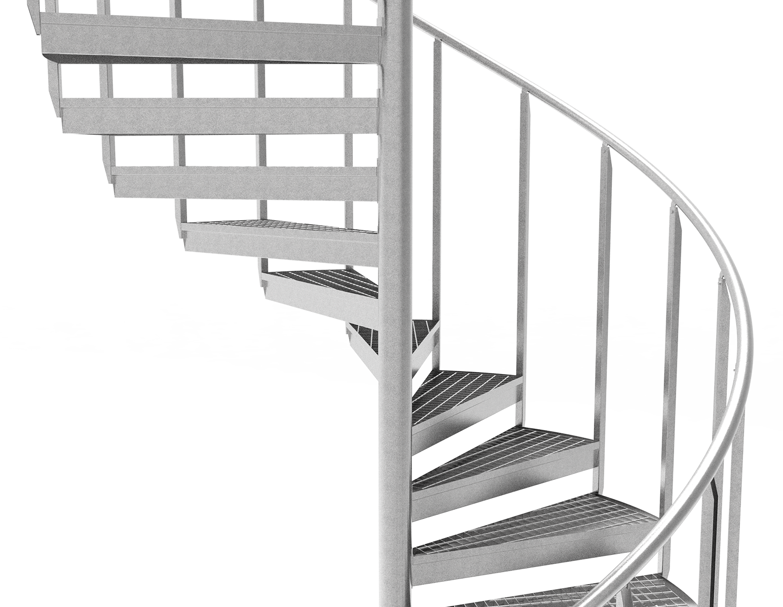 Spiral staircase industrial railing grating steps