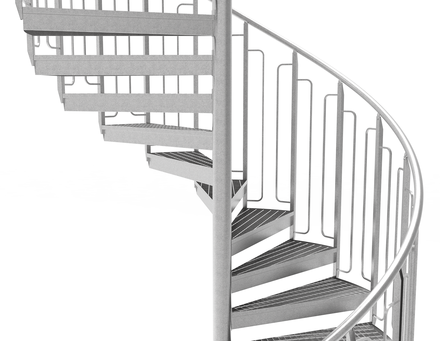 Spiral staircase child safe railing grating steps