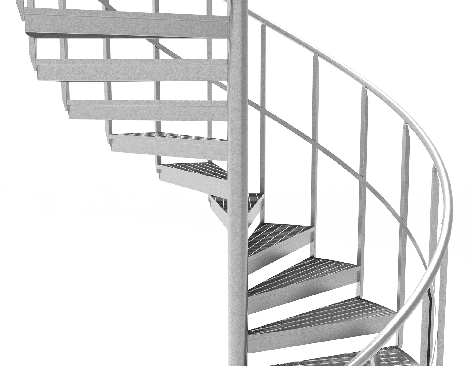 spiral staircase intermediate rails grating steps
