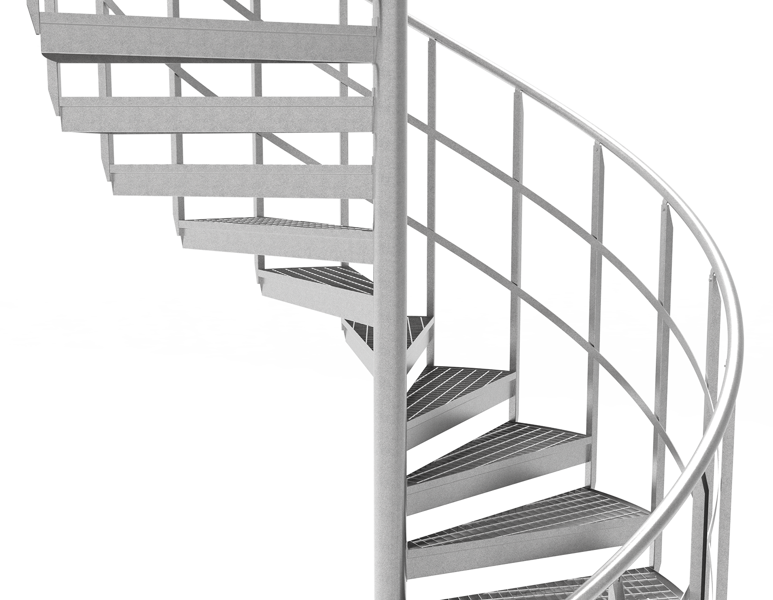 Spiral staircase two intermediate rails grating steps