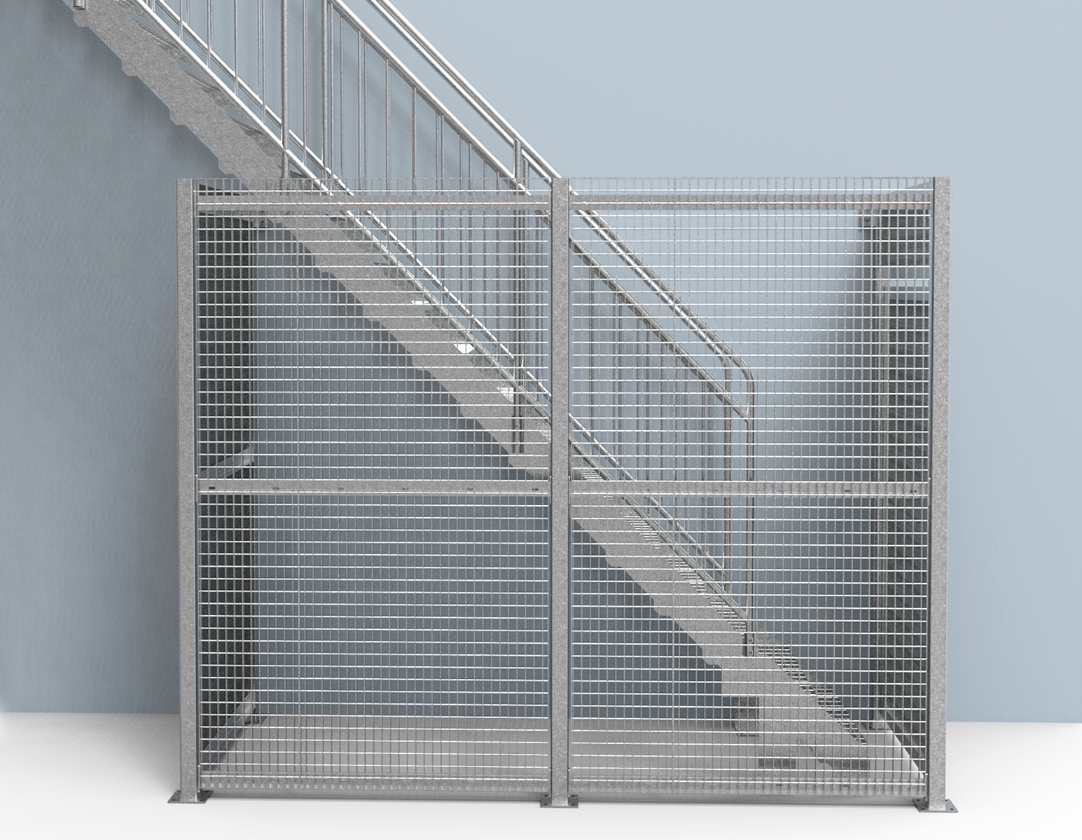 ground connected cage straight staircase
