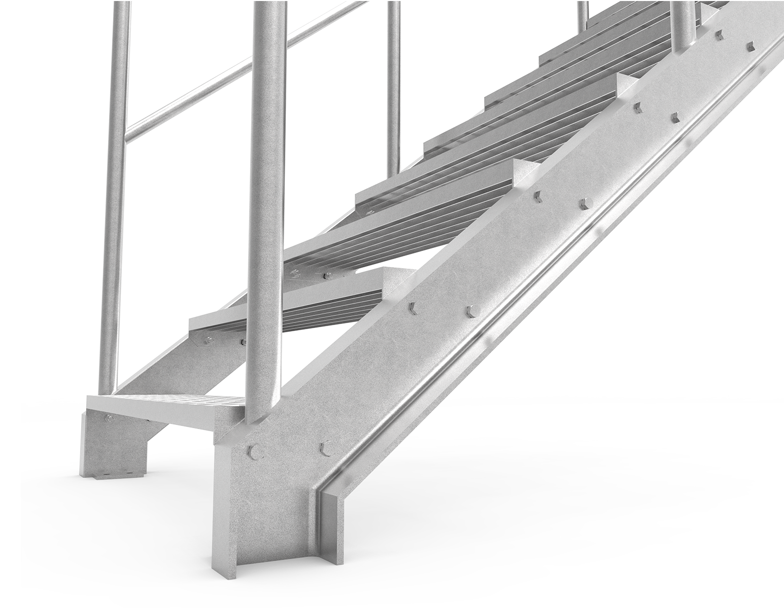 u-beam stringer straigh staircase