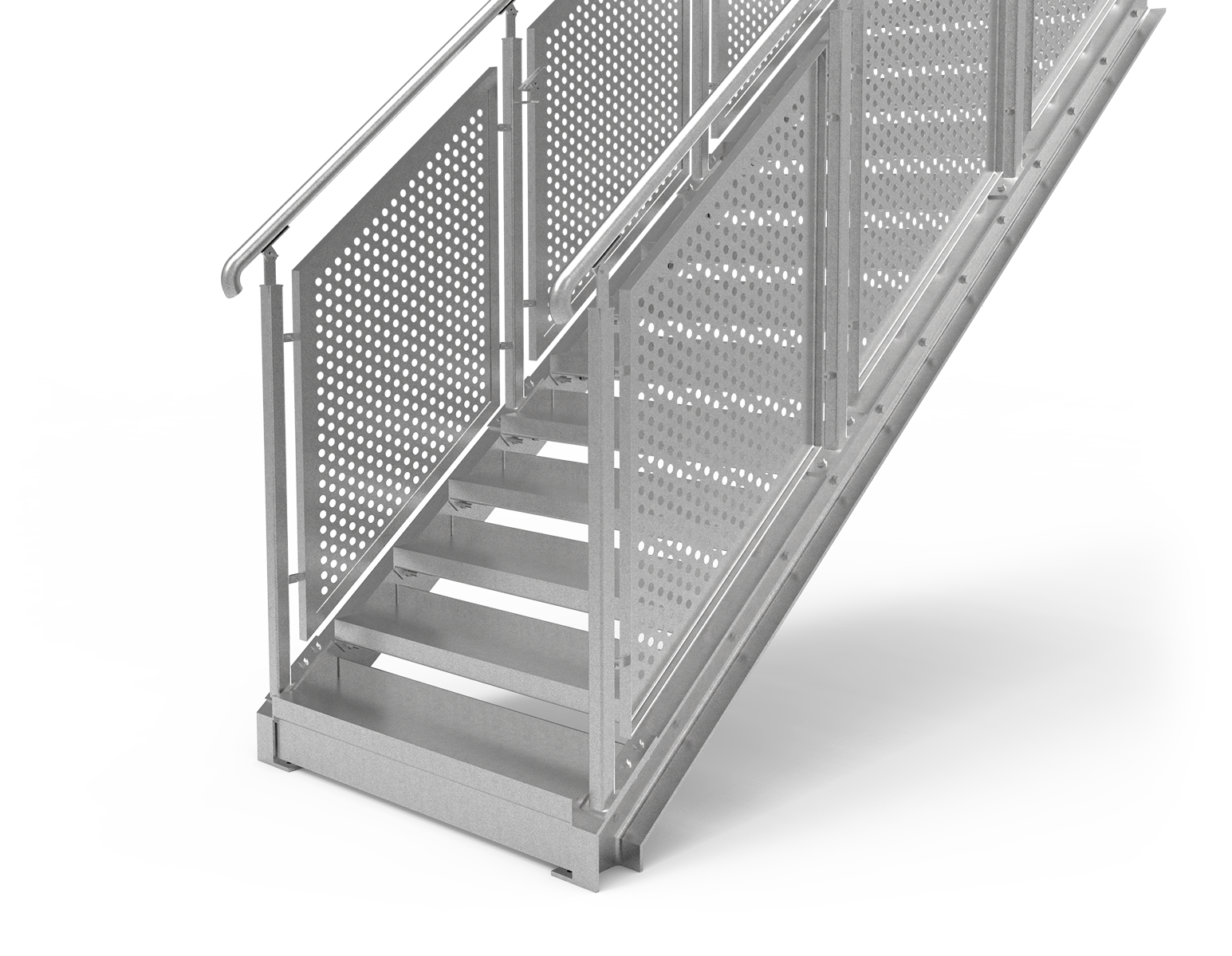 Perforated plate straight staircase railing