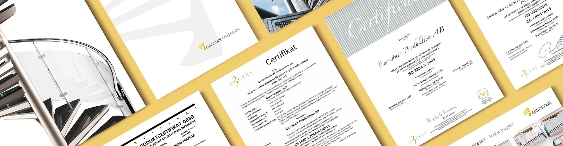 broschyrer certifikat dokument