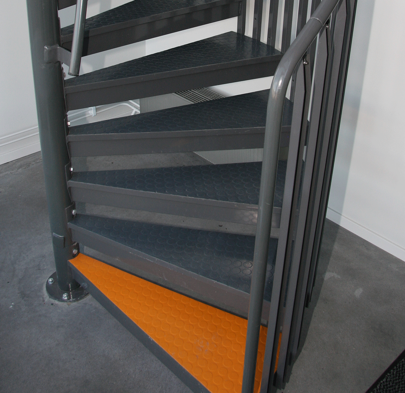 Powder coated spiral staircase with contrast marking