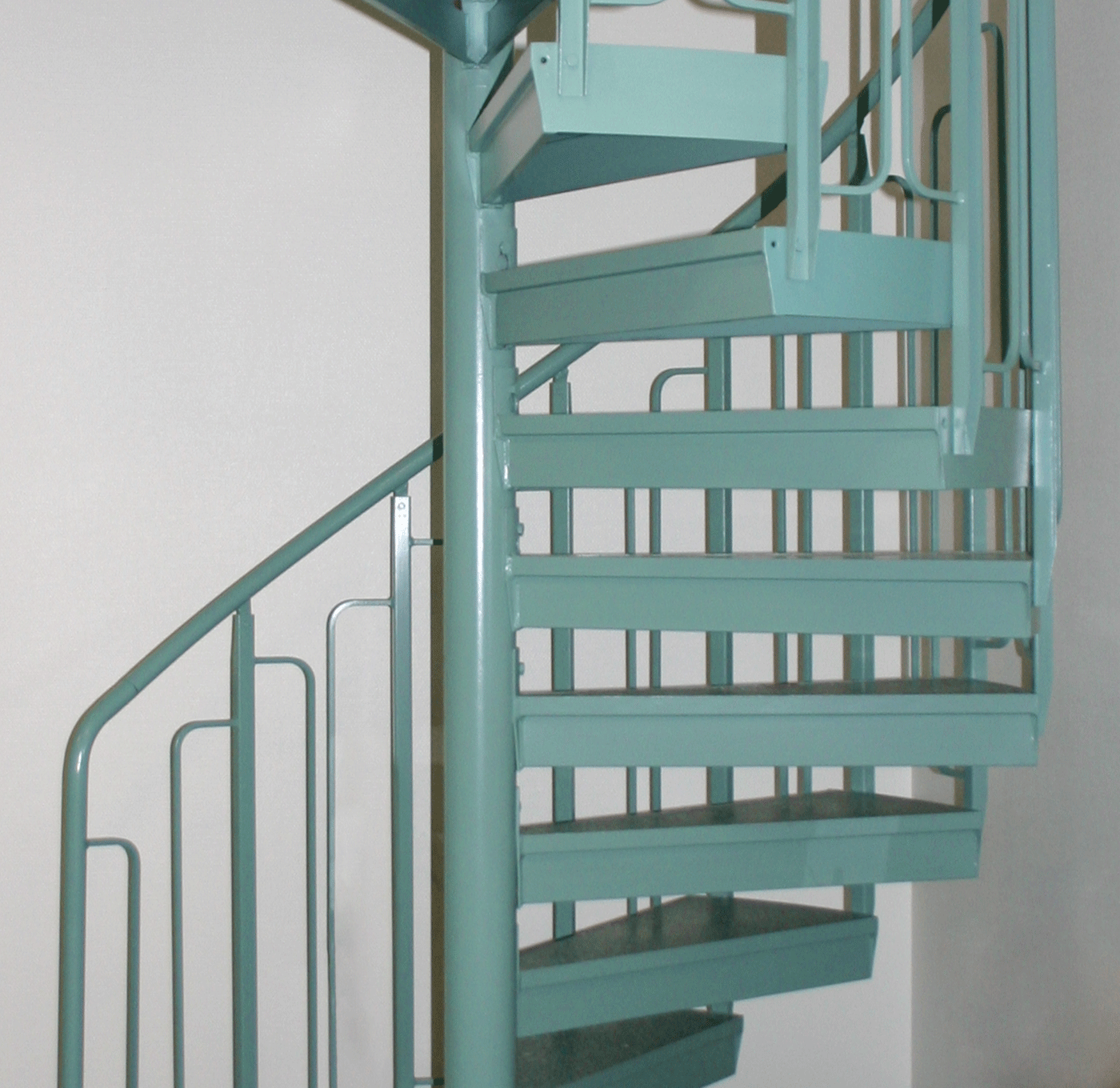 Powder coated indoor spiral staircase