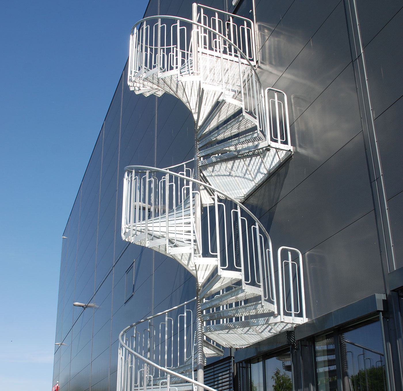Childsafe spiral staircase outdoors for emergency exit
