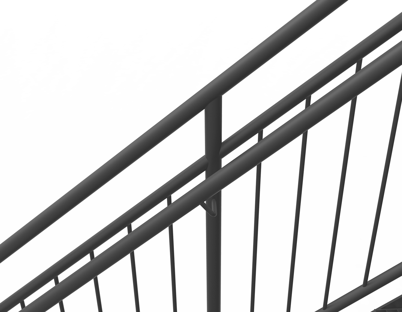 Powder coated handrail straight staircase standard