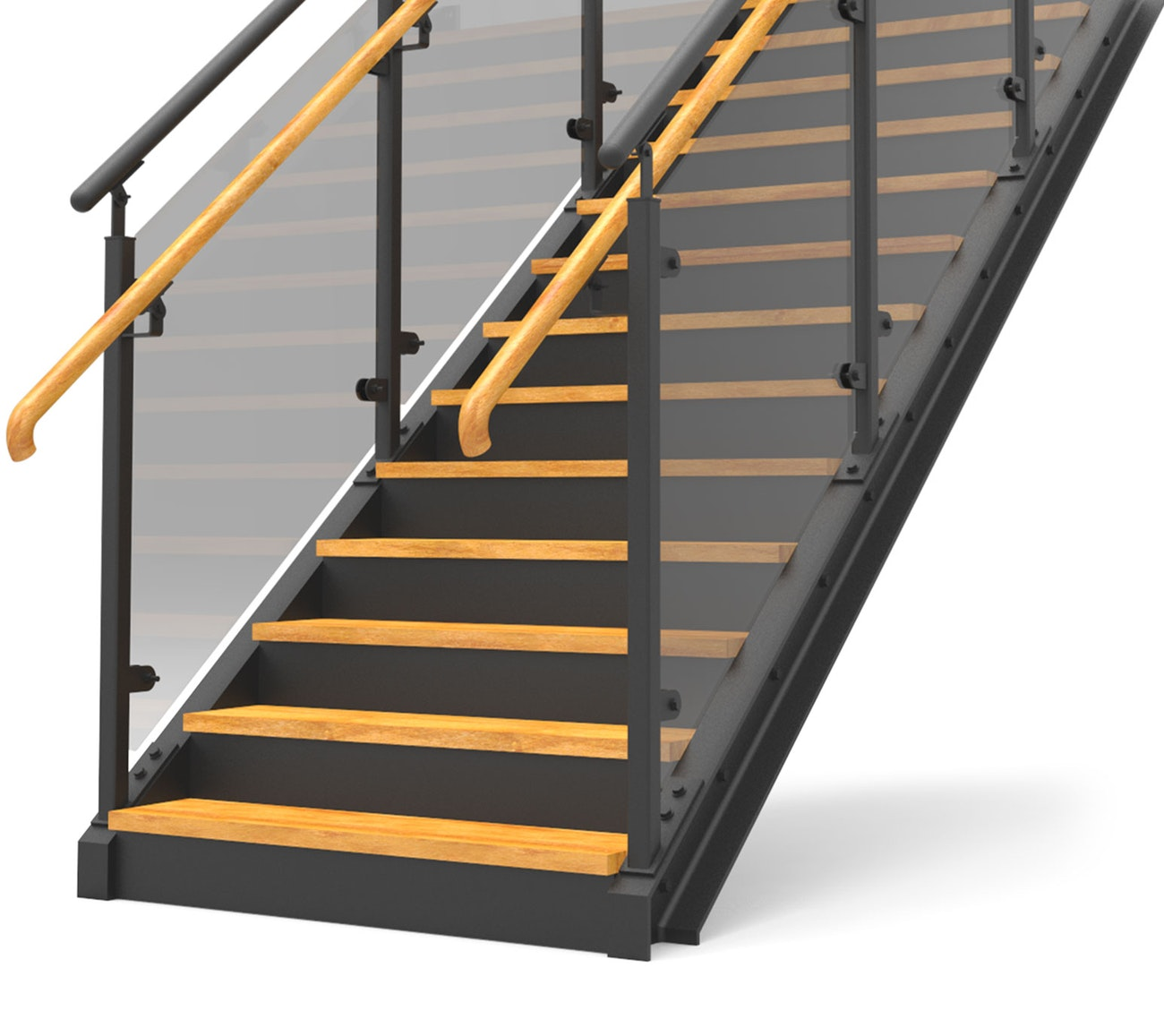 Eurostair straight staircase premium glas railing