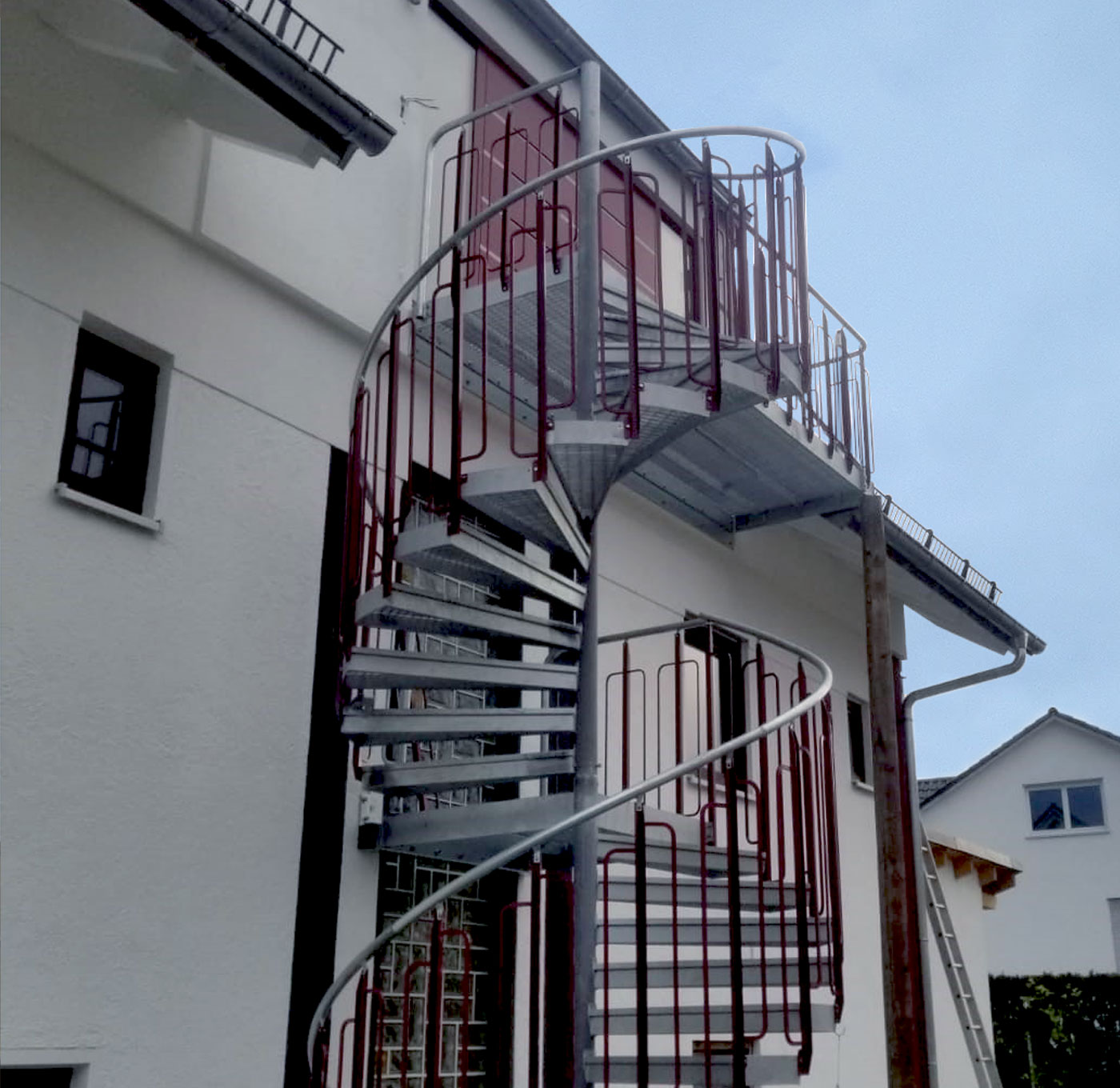 Childsafe spiral staircase with powder coated railing