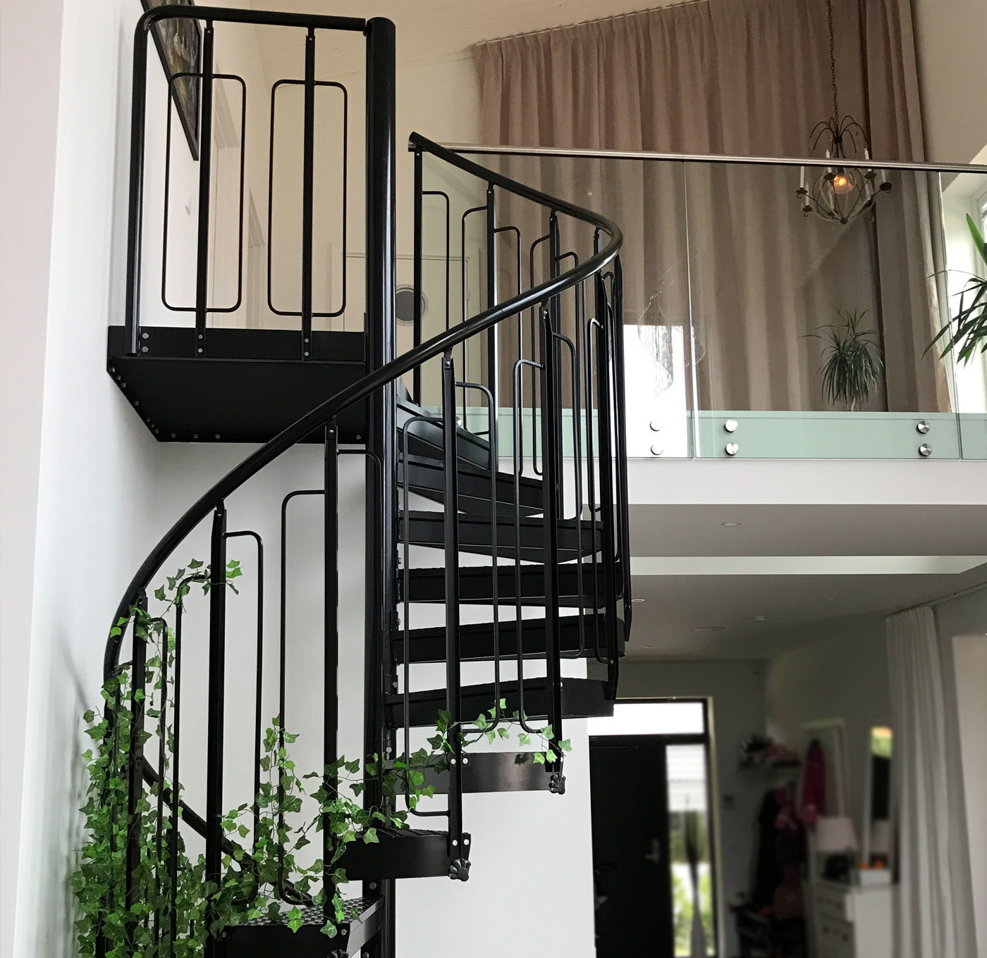 Powder coated spiral staircase indoors