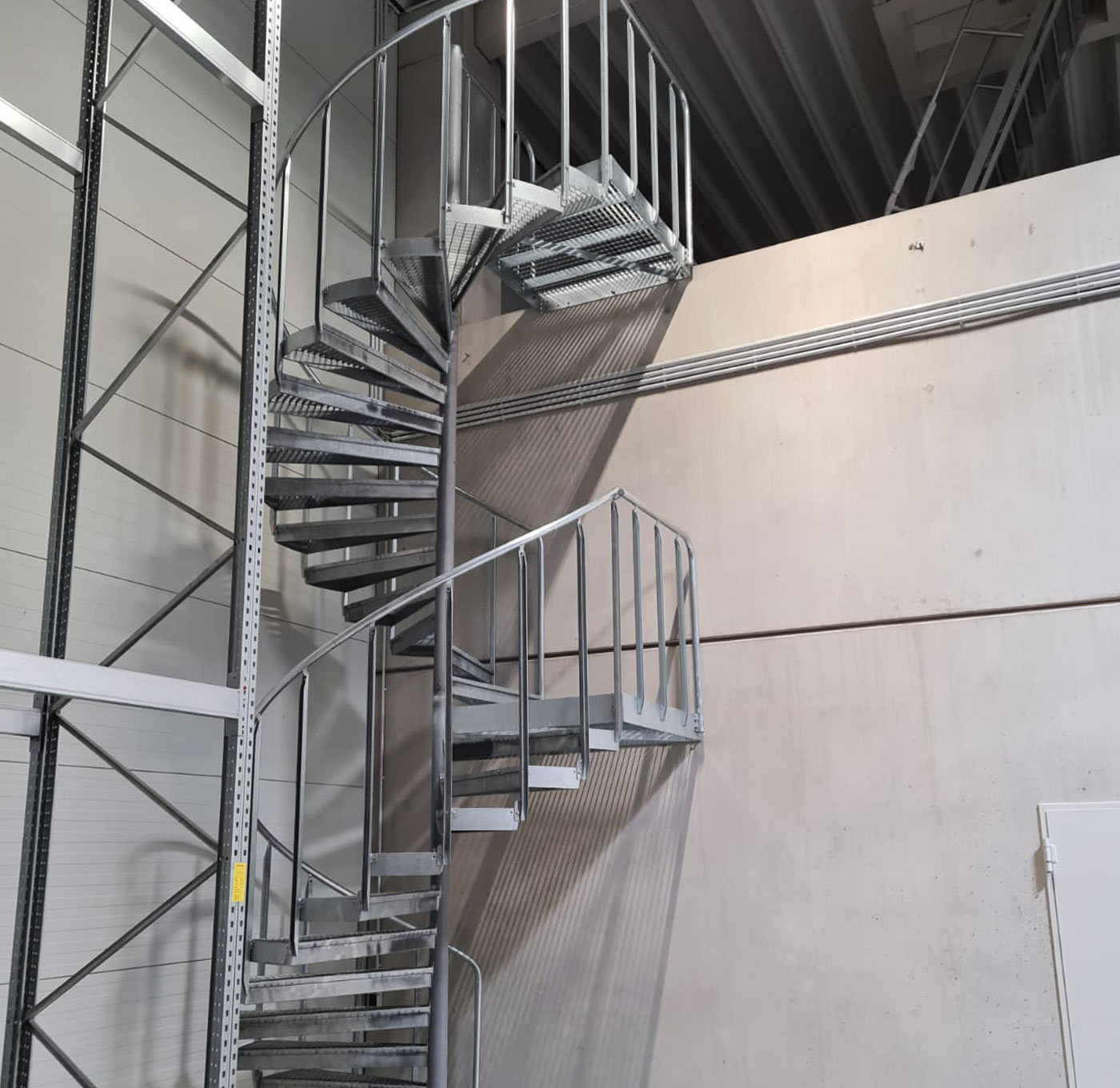Industrial staircase with grating steps
