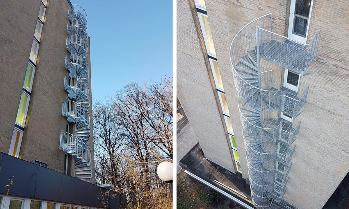 Hot-dip galvanized childsafe outdoor spiral staircase