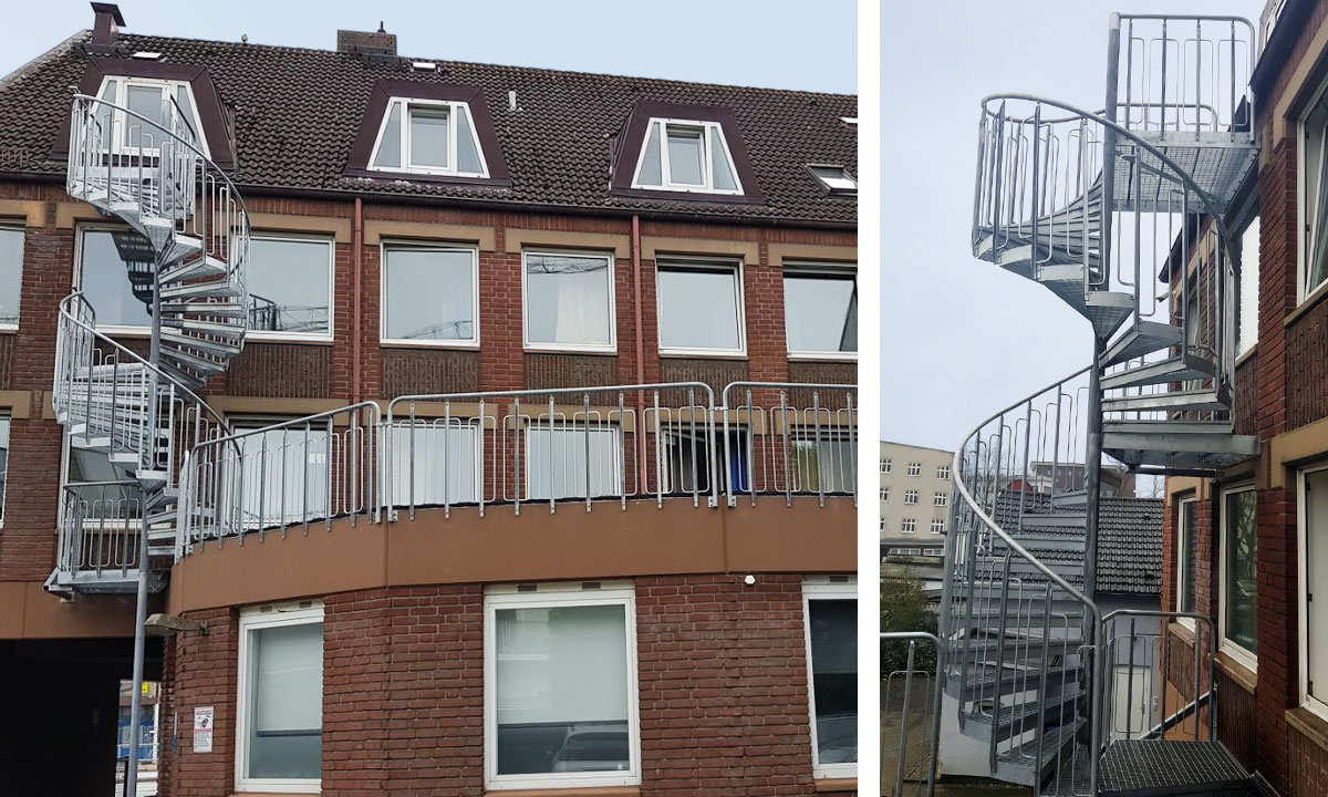 Spiral staircase with child safe railing