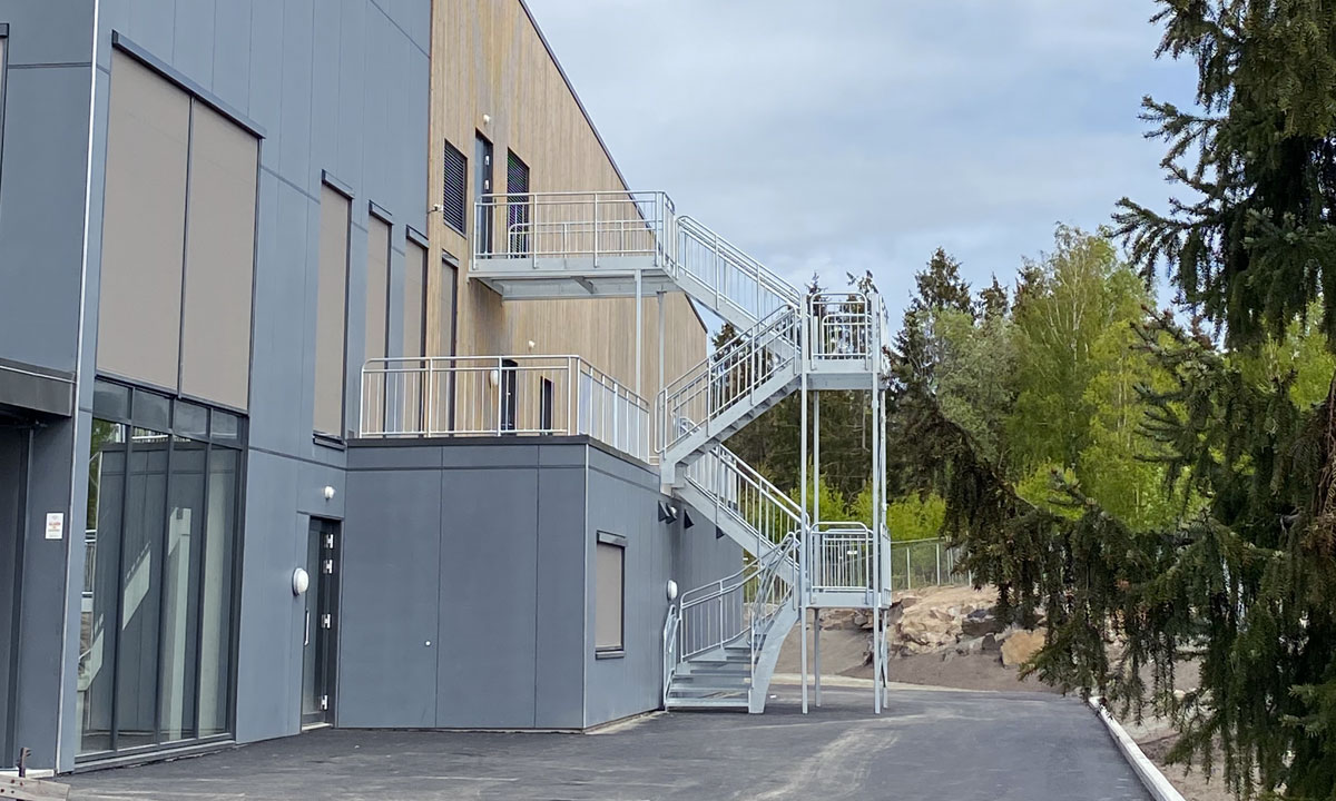 Straight staircases outdoors